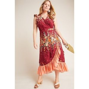 Plus Sized Floral Wrap Dress by Anthropologie